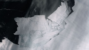 The Pine Island Glacier recently spawned an iceberg over 300 square kilometres that very quickly shattered. This image, captured Tuesday by the Copernicus Sentinel-2 mission, shows the freshly broken bergs in detail. (European Space Agency)