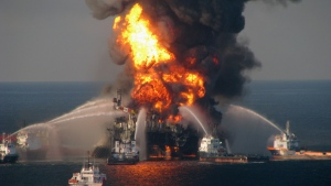 Approximately 168 million gallons of oil were released into the Gulf of Mexico following the 2010 Deepwater Horizon disaster. (U.S. Coast Guard via Getty Images)