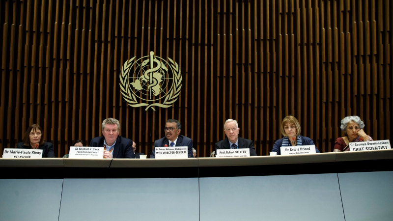 Tedros Adhanom Ghebreyesus, Director General of the World Health Organization (WHO), 3rd left, with other members of the WHO panel, facing the media about the response to the COVID-19 virus outbreak, at the World Health Organization (WHO) headquarters in Geneva, Switzerland, Wednesday, Feb. 12, 2020. The disease caused by the novel coronavirus (SARS-CoV-2) has been officially named COVID-19 by the World Health Organization (WHO). Panel members from left, Marie-Paule Kieny co-chair, Michael Ryan Executive Director of WHO's Health Emergencies programme, Tedros Adhanom Ghebreyesus WHO Director General, Professor Robert Steffen Chair of IHR Emergency Committee regarding on Ebola, Sylvie Briand Director of Global Infectious Hazard Preparedness of WHO, and Soumya Swaminathan WHO's Chief Scientist. (Salvatore Di Nolfi/Keystone via AP)