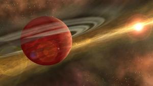 Artist's conception of a massive planet orbiting a cool, young star. (NASA / JPL-Caltech / R. Hurt)