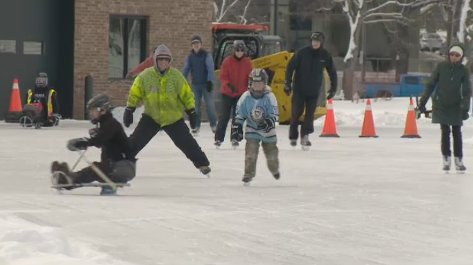 People are seen skating at the Emera Oval in Halifax on Feb. 12, 2020. Students in the Halifax Regional Centre for Education were enjoying a snow day.