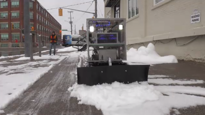 Snowplowing robot