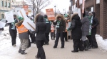For the first time since 1997, teachers in Ontario's French school board system are on the picket lines, including a group in front of Nipissing MPP Vic Fedeli's office. Feb. 13/20 (Eric Taschner/CTV Northern Ontario)