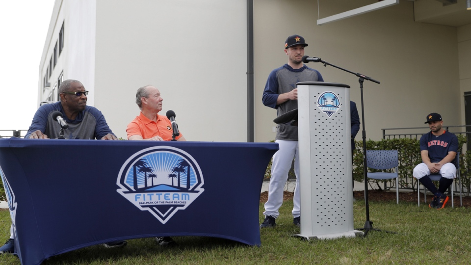 Houston Astros' Alex Bregman delivers a statement
