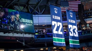 Daniel and Henrik Sedin's jersey numbers 22 and 33 were retired at Rogers Arena on Feb. 12, 2020 prior to the Canucks' 3-0 victory against the Blackhawks. (Anil Sharma photo)