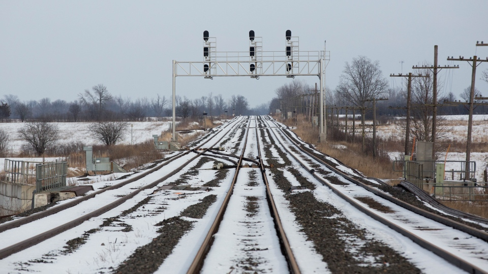 The closed train tracks are seen in Tyendinaga Mohawk Territory, Ont. on Wednesday, Feb. 12, 2020, in support of Wet'suwet'en's blockade of a natural gas pipeline in northern B.C. THE CANADIAN PRESS/Lars Hagberg