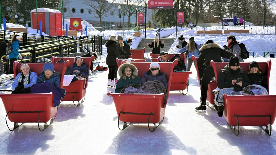 Seniors from Stirling Park Retirement Community took a spin on the Rideau Canal Skateway in sleighs.