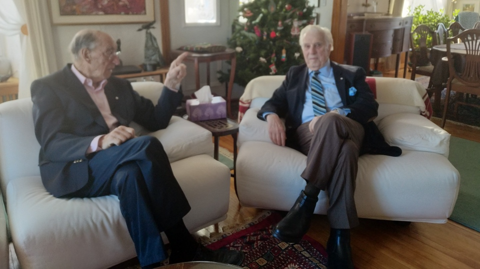 Marc Lalonde (left) speaks with Lloyd Robertson on Dec. 12, 2019 (W5)