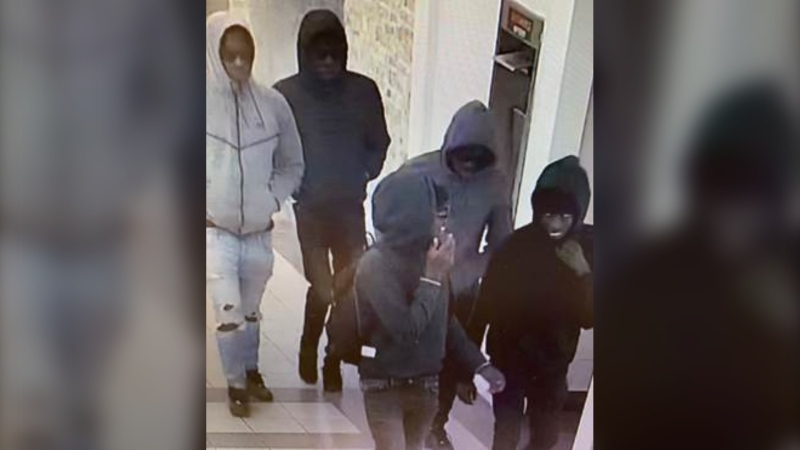 Lethbridge police are looking for information on these five men, believed to be involved in a theft at a cellphone store earlier this week. (Supplied)
