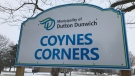 Coynes Corners sign  in Dutton Dunwich (CTV News / Sean Irvine)