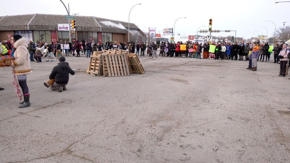 Protesters at the intersection of Idylwyld Drive and 22nd Street West on Feb. 13, 2020. (Laura Woodward/CTV Saskatoon)