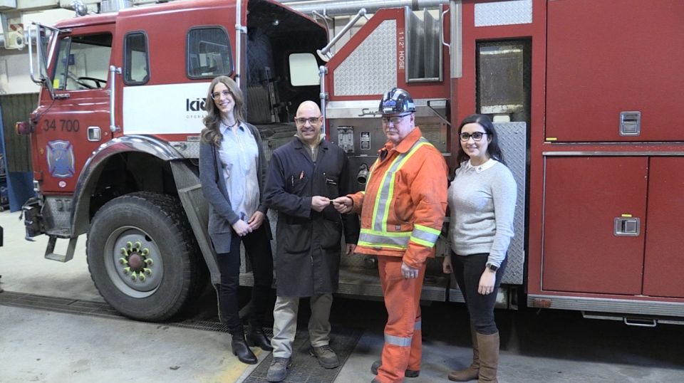 (Left to Right) Michelle Boileau, Collège Boréal post-secondary programs manager, Ernest Plante, Guy Lamb and Victoria Whissel, communications coordinator for Glencore Kidd Operations.