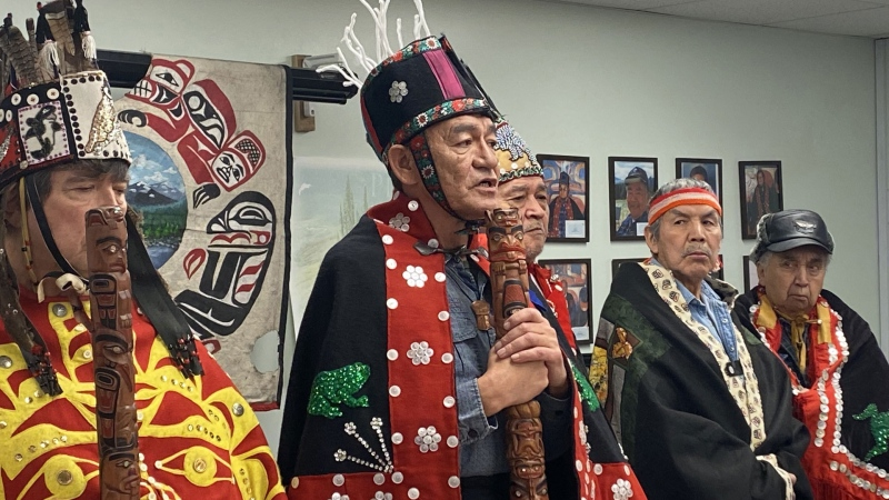 Na'moks (centre), a spokesman for the Wet'suwet'en hereditary chiefs, holds a press conference in Smithers, B.C., Tuesday, Jan.7, 2020, on the one-year anniversary of RCMP enforcement of an injunction granted to Coastal GasLink. THE CANADIAN PRESS/Amy Smart