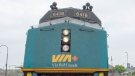 A Via Rail train heading to Toronto is seen at the Dorval station Tuesday, June 25, 2019 in Montreal. (THE CANADIAN PRESS/Ryan Remiorz)