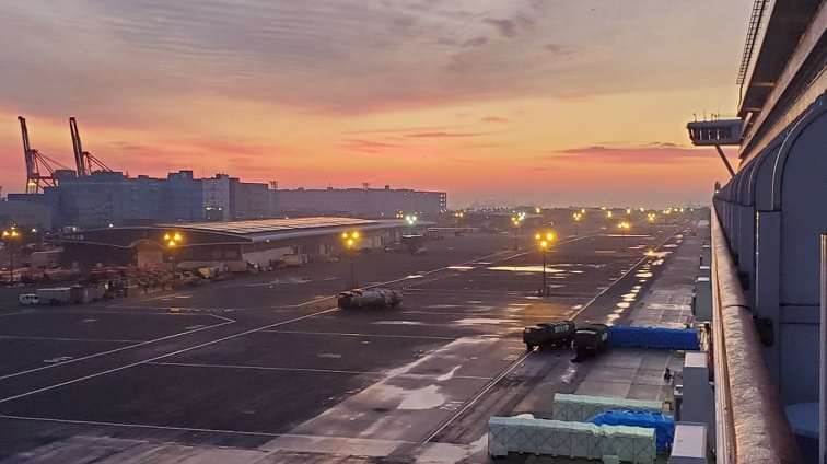 """Jenny and Mark Rodrige, a married couple of 35 years from Edmonton, said their spirits are as high as they can be one week into the quarantine. """"Sun rising this a.m.,"""" Jenny wrote on Feb. 14 from the ship outside Yokohama. """"Very pretty sky."""""""