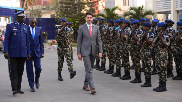 Prime Minister Justin Trudeau arrives to take part in a women in peacekeeping event in Dakar, Senegal on Wednesday, Feb. 13, 2020. THE CANADIAN PRESS/Sean Kilpatrick