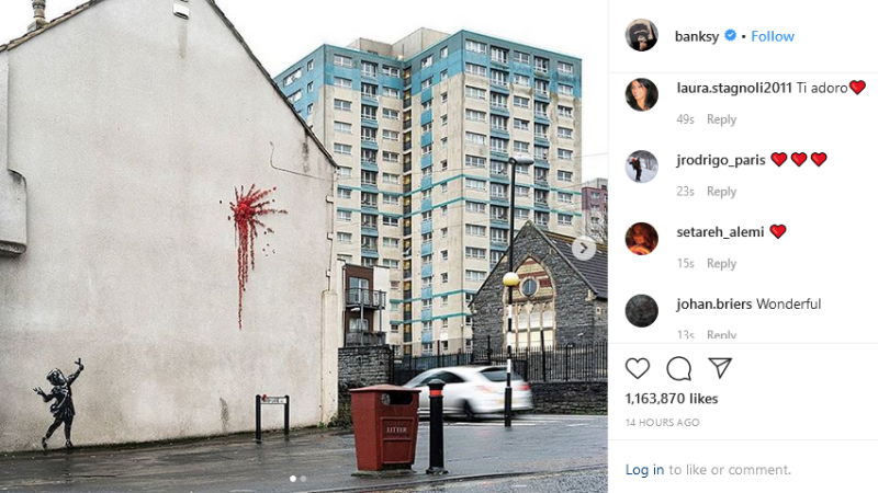 Photos of the artwork were shared on Banksy's official Instagram account on Valentine's Day. (Banksy / Instagram)