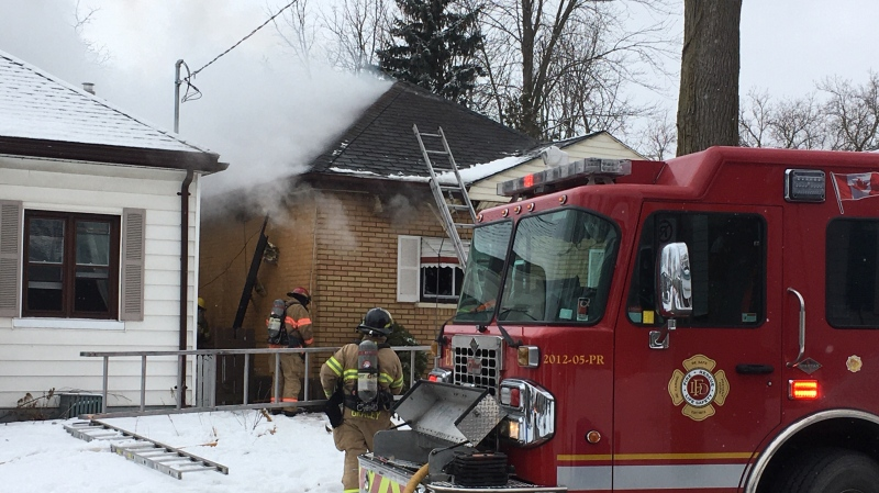 Frances Street fire on Thursday, Feb. 13, 2020. (Gerry Dewan / CTV London)