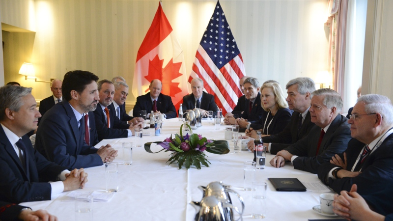 Prime Minister Justin Trudeau, second from left, meets with United States Senator Lindsey Graham, second from right, at the Munich Security Conference on Feb. 14, 2020. (Sean Kilpatrick / THE CANADIAN PRESS)