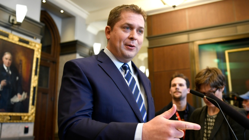 Conservative Leader Andrew Scheer speaks to reporters about rail blockades by activists protesting the Coastal GasLink project, on Parliament Hill in Ottawa, Friday, Feb. 14, 2020. THE CANADIAN PRESS/Justin Tang