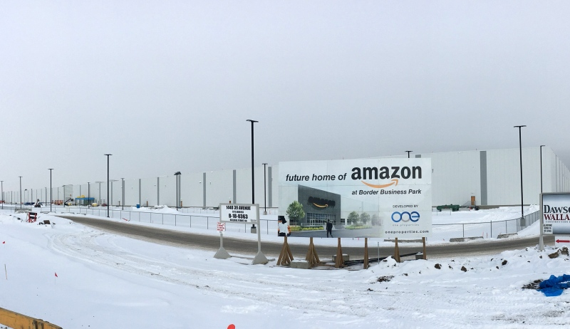 The Amazon warehouse south of Edmonton. (Evan Klippenstein/CTV News Edmonton)