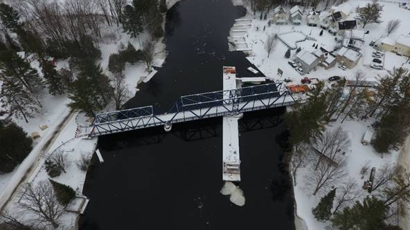 Hamlet swing bridge over Severn River opens to traffic