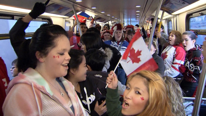 Passengers crowd a Canada Line train during the 2010 Winter Olympics in Vancouver in this CTV News file image.