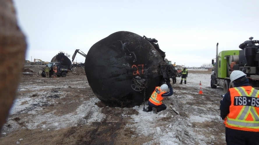 A Canadian Pacific Railway freight train jumped the tracks on Feb. 6 near Guernsey, about 115 kilometres southeast of Saskatoon. (Transportation Safety Board)