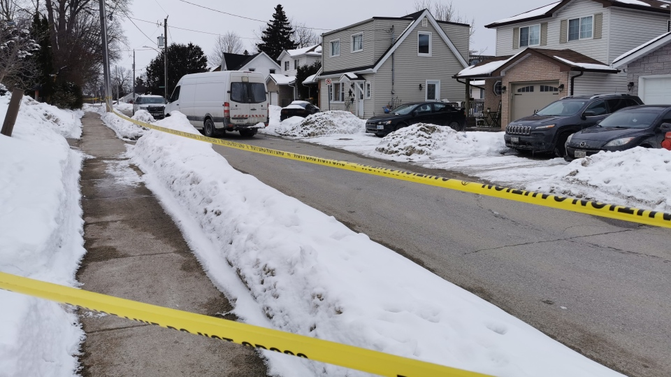 Orangeville Police Service investigates a shooting that happened overnight on Fri., Feb. 14, 2020. (Don Wright/CTV News)