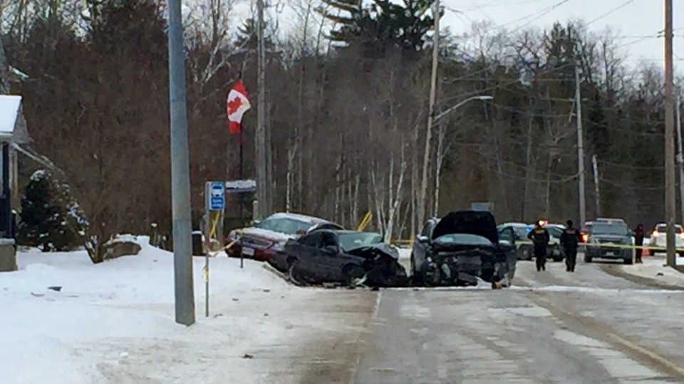 Police are investigating a multi-vehicle collision on River Road W in Wasaga Beach on Fri., Feb. 14, 2020. (Steve Mansbridge/CTV News)
