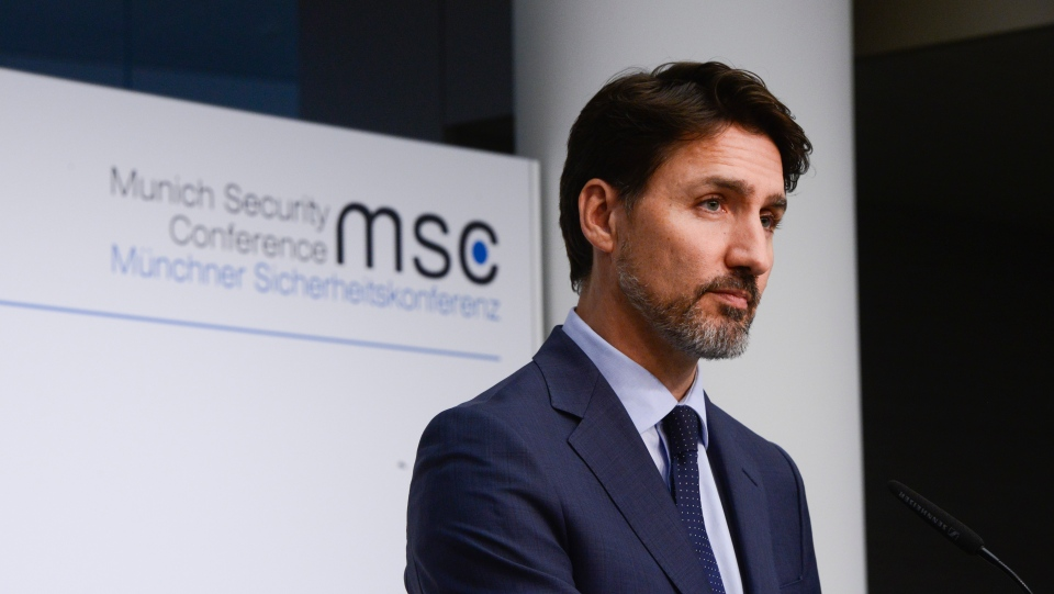 Prime Minister Justin Trudeau holds a closing press conference following the Munich Security Conference, in Munich, Germany, Friday, Feb. 14, 2020. (THE CANADIAN PRESS / Sean Kilpatrick)