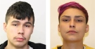 Brandon Okimaw, left, and Caitlin Dvorak, right, are accused of breaking into underground parkades and stealing items from vehicles. (Photo provided.)