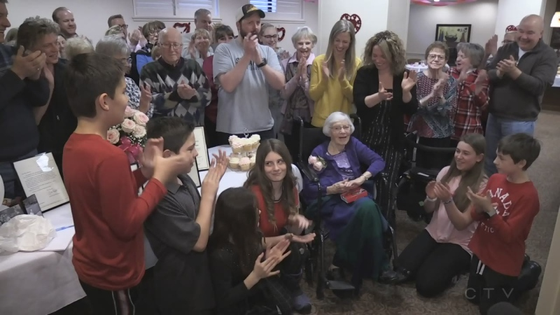 Valentine Johnston celebrates her 100th birthday on Valentine's Day. (Nick Paparella / CTV News)