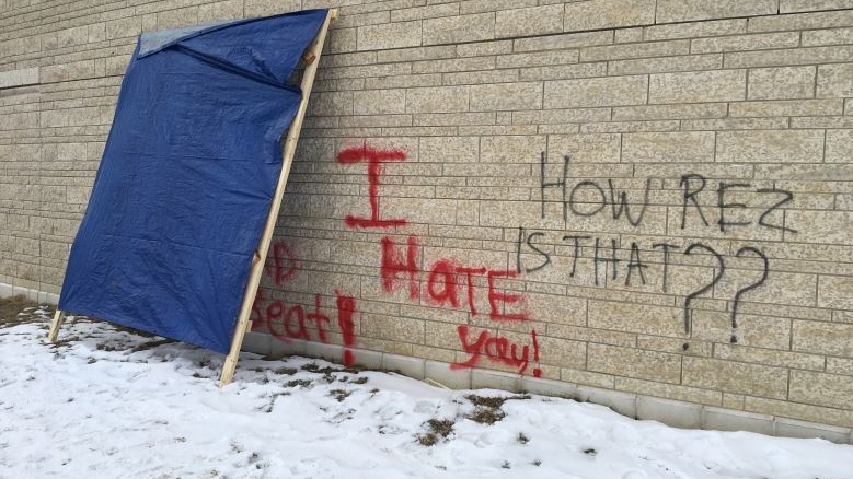 Graffiti was found on the First Nations University on Friday.