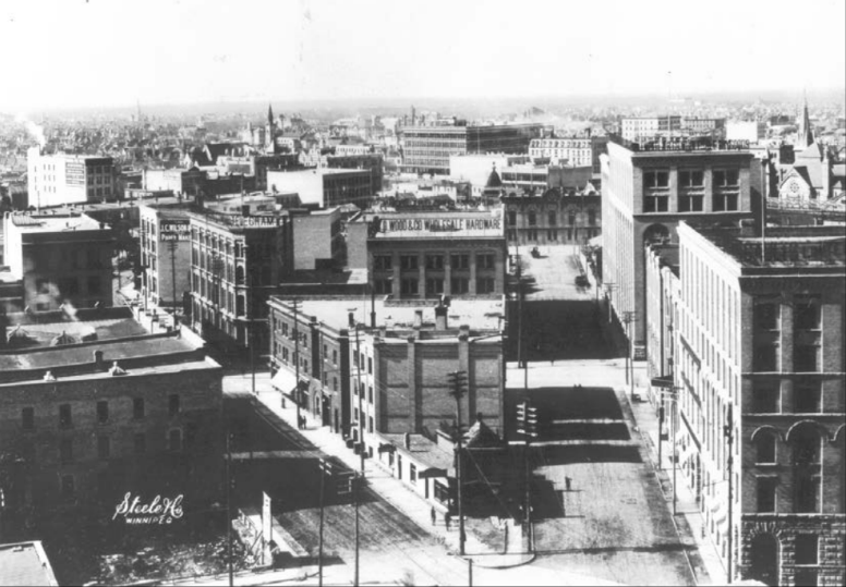 Warehouse district. (Source: Virtual Heritage Winnipeg and the University of Manitoba Archives and Special Collections)
