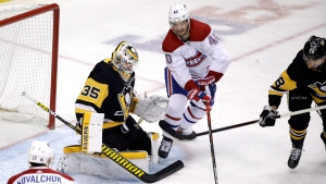 Tristan Jarry will be between the pipes for Pittsburgh as the team tries to avoid an upset loss to Montreal and get eliminated from the playoffs. (AP Photo/Gene J. Puskar)