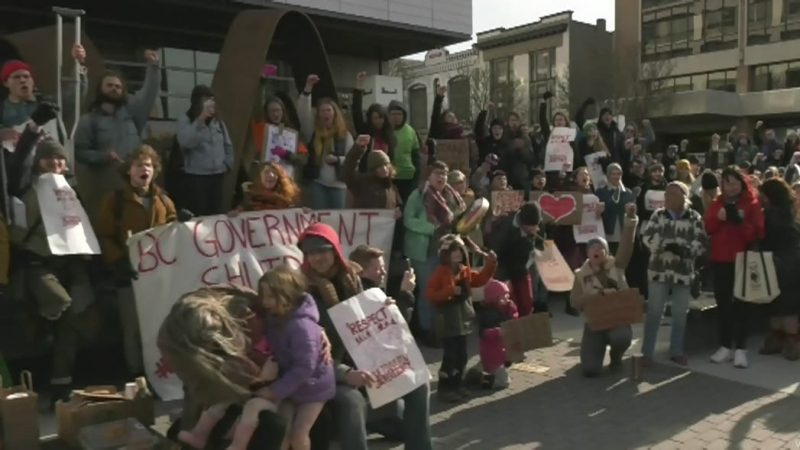 Protesters picket B.C. government offices
