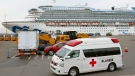 An ambulance leaves Yokohama Port where the Diamond Princess, back, is docked in Yokohama, near Tokyo, Friday, Feb. 14, 2020. (Kenzaburo Fukuhara/Kyodo News via AP)