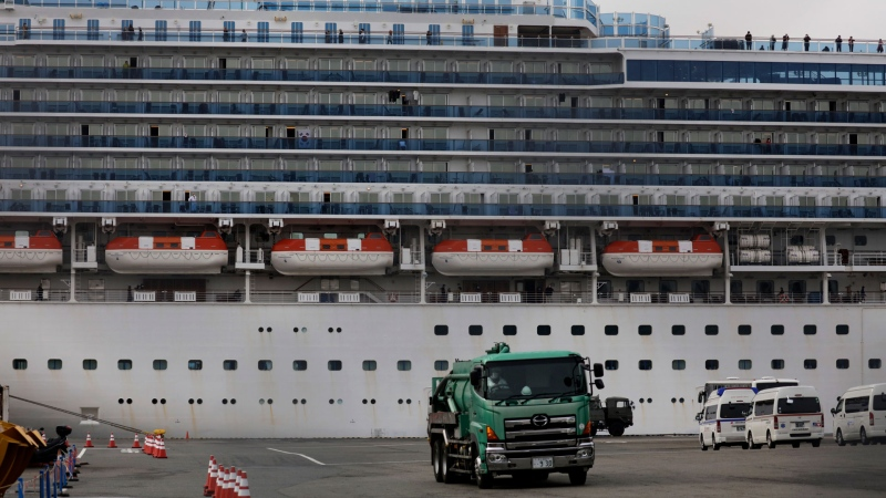 The quarantined Diamond Princess cruise ship is docked at a port, Saturday, Feb. 15, 2020, in Yokohama, near Tokyo. A viral outbreak that began in China has infected more than 67,000 people globally. The World Health Organization has named the illness COVID-19, referring to its origin late last year and the coronavirus that causes it. (AP / Jae C. Hong)
