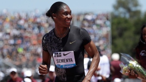 In this June 30, 2019 file photo, South Africa's Caster Semenya smiles after winning the women's 800-meter race during the Prefontaine Classic, an IAAF Diamond League athletics meeting, in Stanford, Calif. Olympic champion Caster Semenya has run her first public race in eight months and says she will be back in top-level track despite currently being banned from competing in her favorite event. (AP Photo/Jeff Chiu, File)