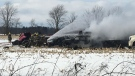Malahide Township structure fire on John Wise Line on Feb. 15, 2020. (Brent Lale/CTV)