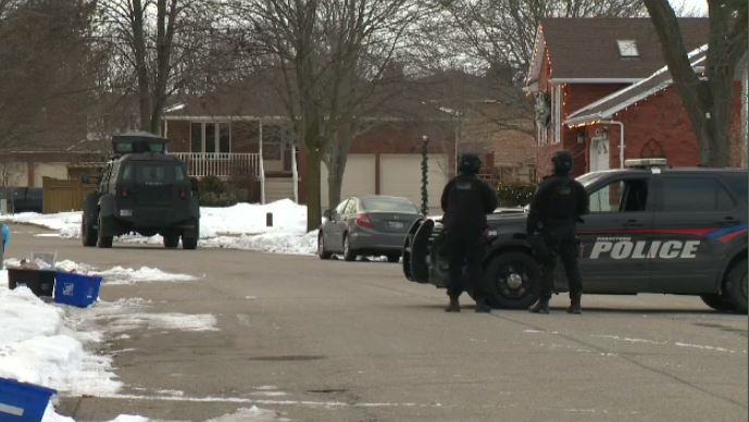 Police on the scene of a lengthy negotiation and arrest that shut down part of a Brantford neighbourhood for roughly 24 hours. (Feb. 14, 2019)