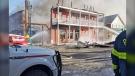 Firefighters battle a blaze at the King Edward Hotel in Pincher Creek. (Photo courtesy Caitlin Marie Walker)