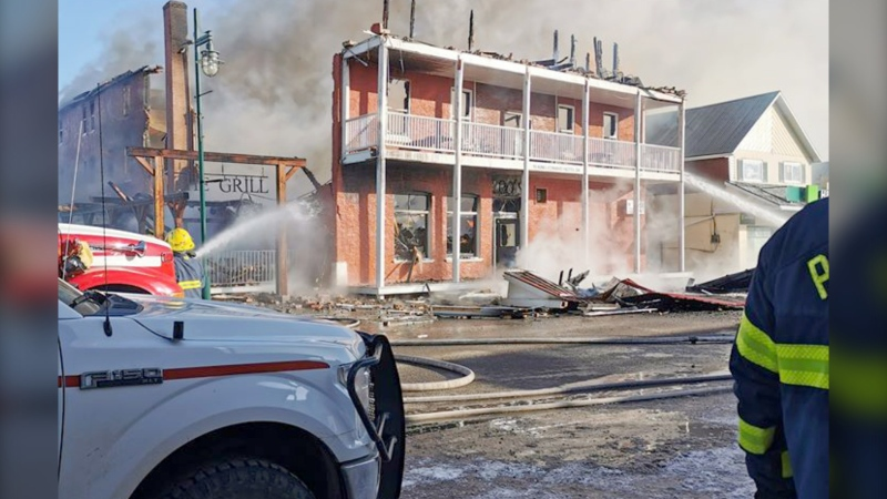Firefighters battle a blaze at the King Edward Hotel in Pincher Creek. (Photo courtesy Caitlin Marie Walker)
