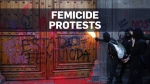 Femicide protesters clash with riot police in Mexi