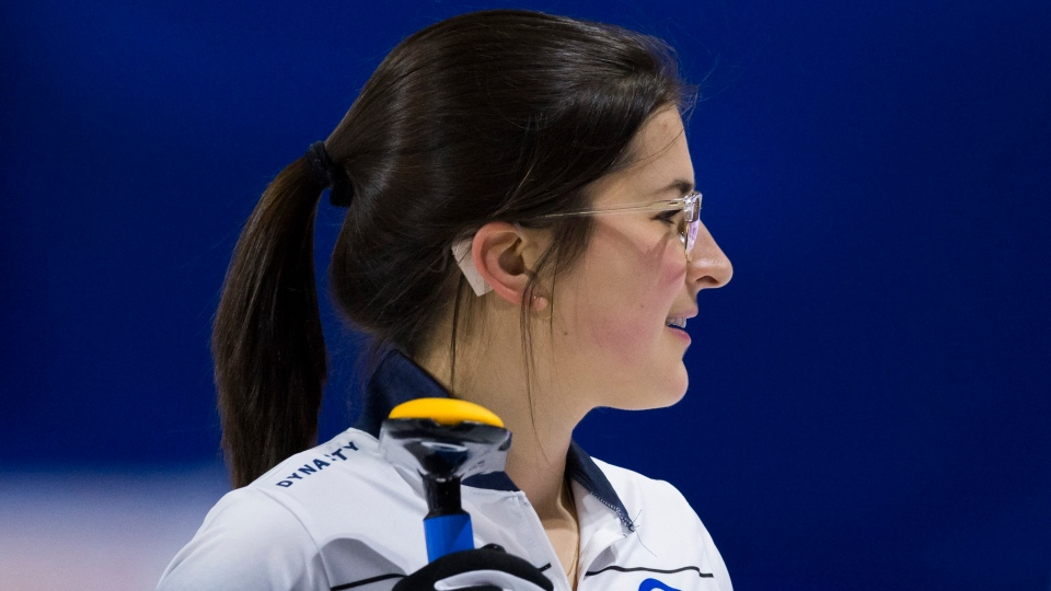Nova Scotia lead Emma Logan is seen during draw 1 against Northwest Territories at the Scotties Tournament of Hearts in Moose Jaw, Sask., Saturday, Feb. 15, 2020. THE CANADIAN PRESS/Jonathan Hayward