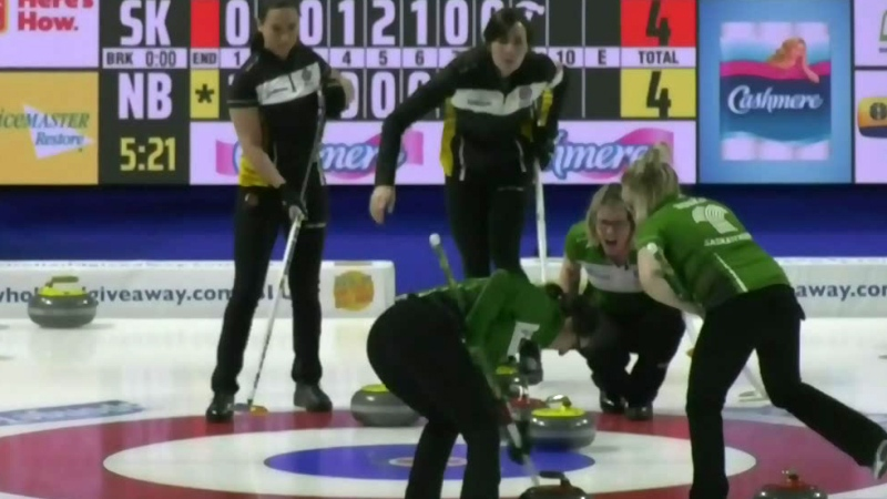 Team Sask. wins first Scotties match
