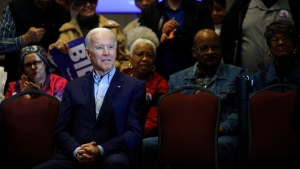 Democratic presidential candidate, former Vice President Joe Biden waits to be introduced at a campaign event, Saturday, Feb. 15, 2020, at the Culinary Academy in North Las Vegas, Nev. (AP Photo/Patrick Semansky)