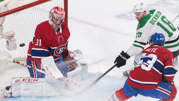 Habs give up four straight goals, lose to Stars in overtime