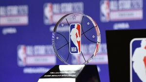 The NBA All-Star Game Kobe Bryant MVP Award is displayed during a news conference, Saturday, Feb. 15, 2020, in Chicago. (AP / David Banks)